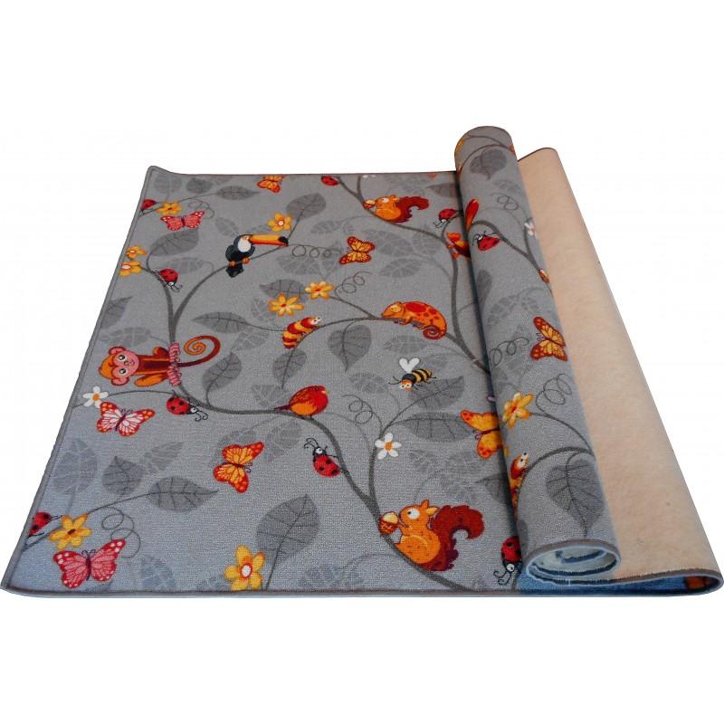 Wykładzina dywanowa dla dzieci Zwierzątka szary
