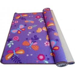 Wykładzina dywanowa dla dzieci dziewczynki Fioletowe Motylkji
