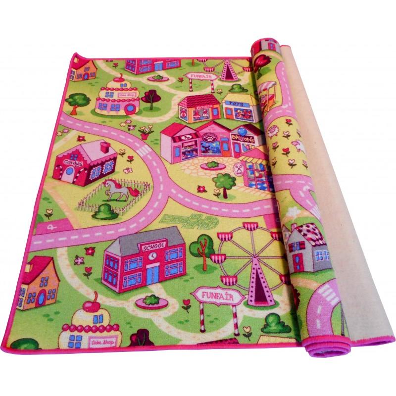 Wykładzina dywanowa dla dziewczynek kolorowe Uliczki